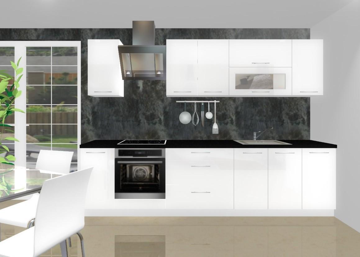 Rovná Emilia - Kuchyňský blok G pro vest. troubu, 3 m (bílá lesk)