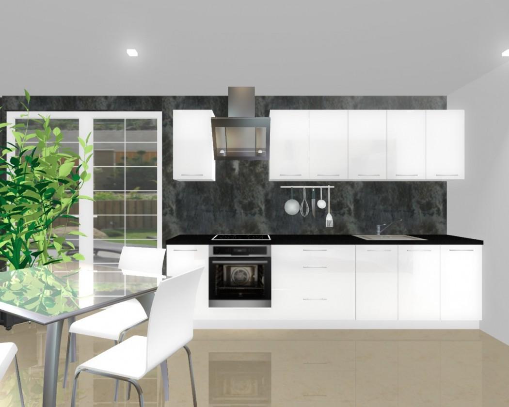 Rovná Emilia - Kuchyňský blok H pro vest. troubu, 3 m (bílá lesk)