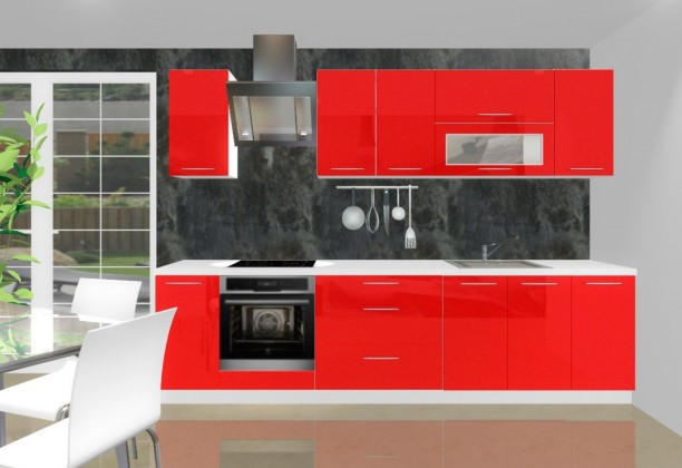 Rovná Emilia - Kuchyňský blok H pro vest. troubu, 3 m (červená lesk)