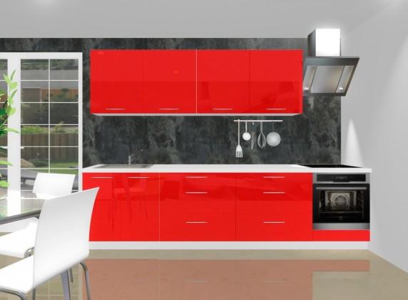 Rovná Emilia - Kuchyňský blok J pro vest. troubu, 3 m (červená lesk)