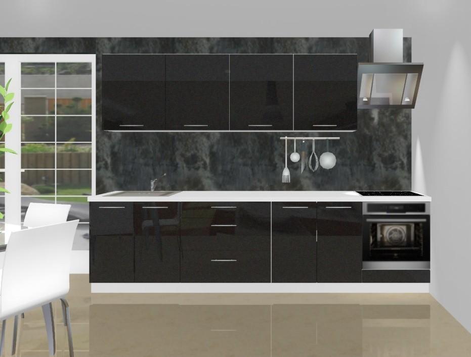 Rovná Emilia - Kuchyňský blok L pro vest. troubu, 3 m (černá lesk)