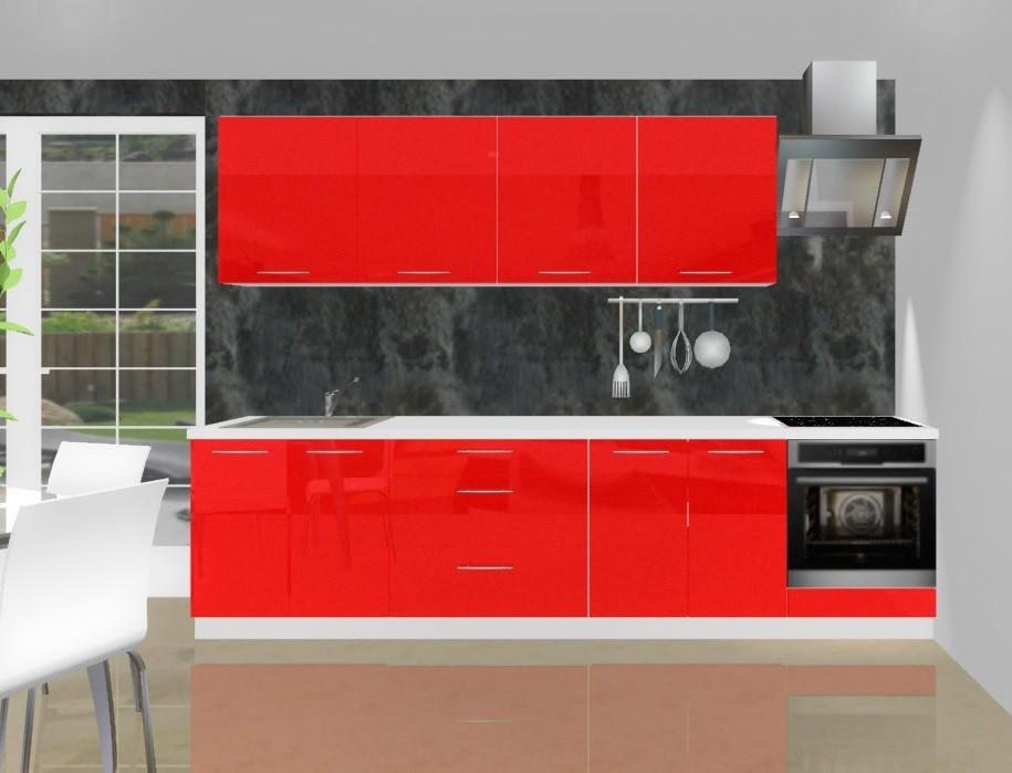 Rovná Emilia - Kuchyňský blok L pro vest. troubu, 3 m (červená lesk)