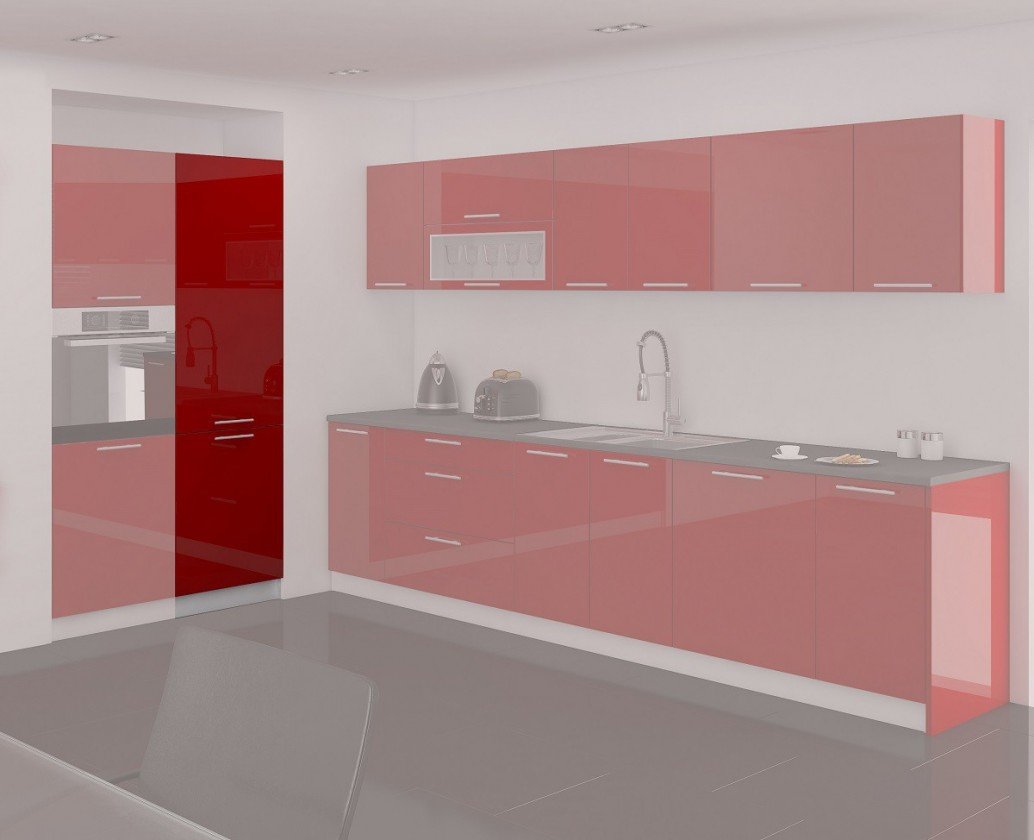 Rovná Emilia - Spižní skříň, 60 cm (červená)
