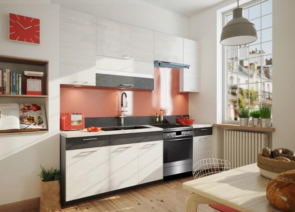 Rovná Fresh - Kuchyňský blok 180/240 cm (hnědá, bělená borovice)
