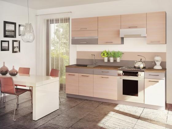 Rovná Fresh - Kuchyňský blok 180/240 cm (truffel, bodega světlá)