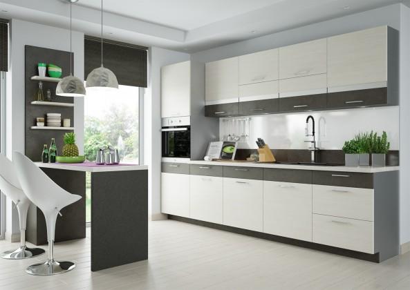 Rovná Fresh - Kuchyňský blok 300 cm (hnědá, bělená borovice)