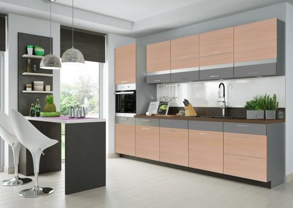 Rovná Fresh - Kuchyňský blok 300 cm (truffel, bodega světlá)