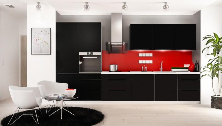 Rovná Goya - Kuchyňský blok 330 cm (černá mat, PD bílá)