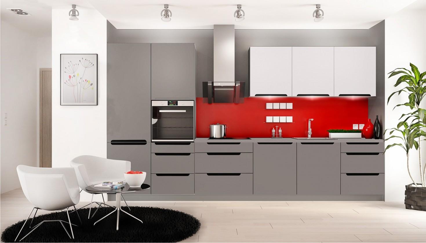 Rovná Goya - Kuchyňský blok 330 cm (šedá mat, bílá mat, PD grafit)