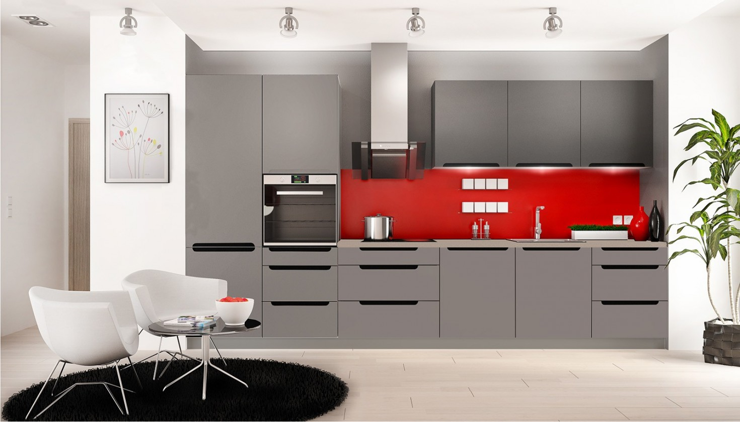 Rovná Goya - Kuchyňský blok 330 cm (šedá mat, PD ořech ontario)