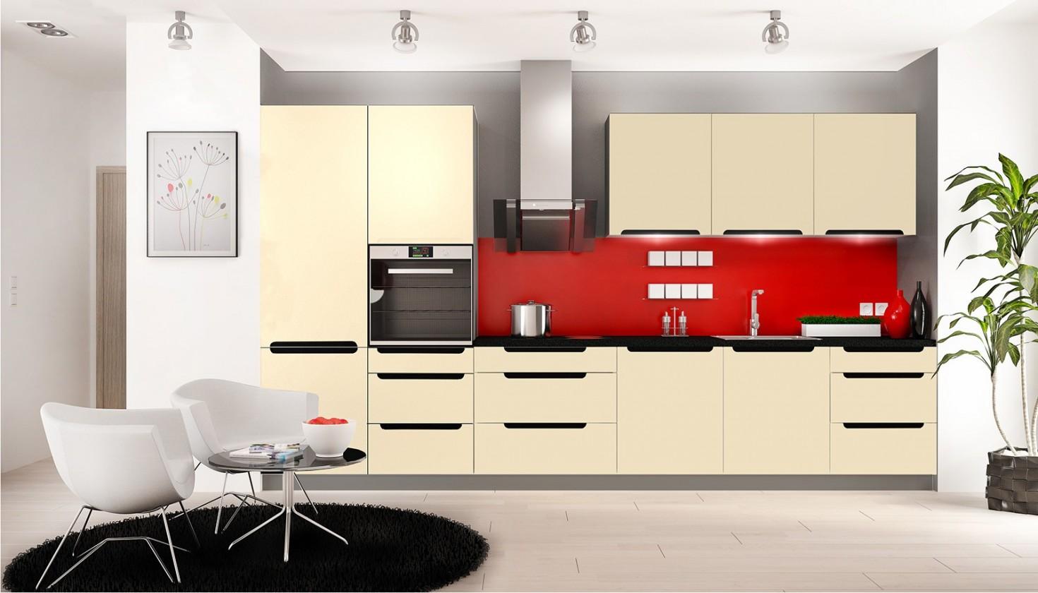 Rovná Goya - Kuchyňský blok 330 cm (vanilka lesk, PD černá)