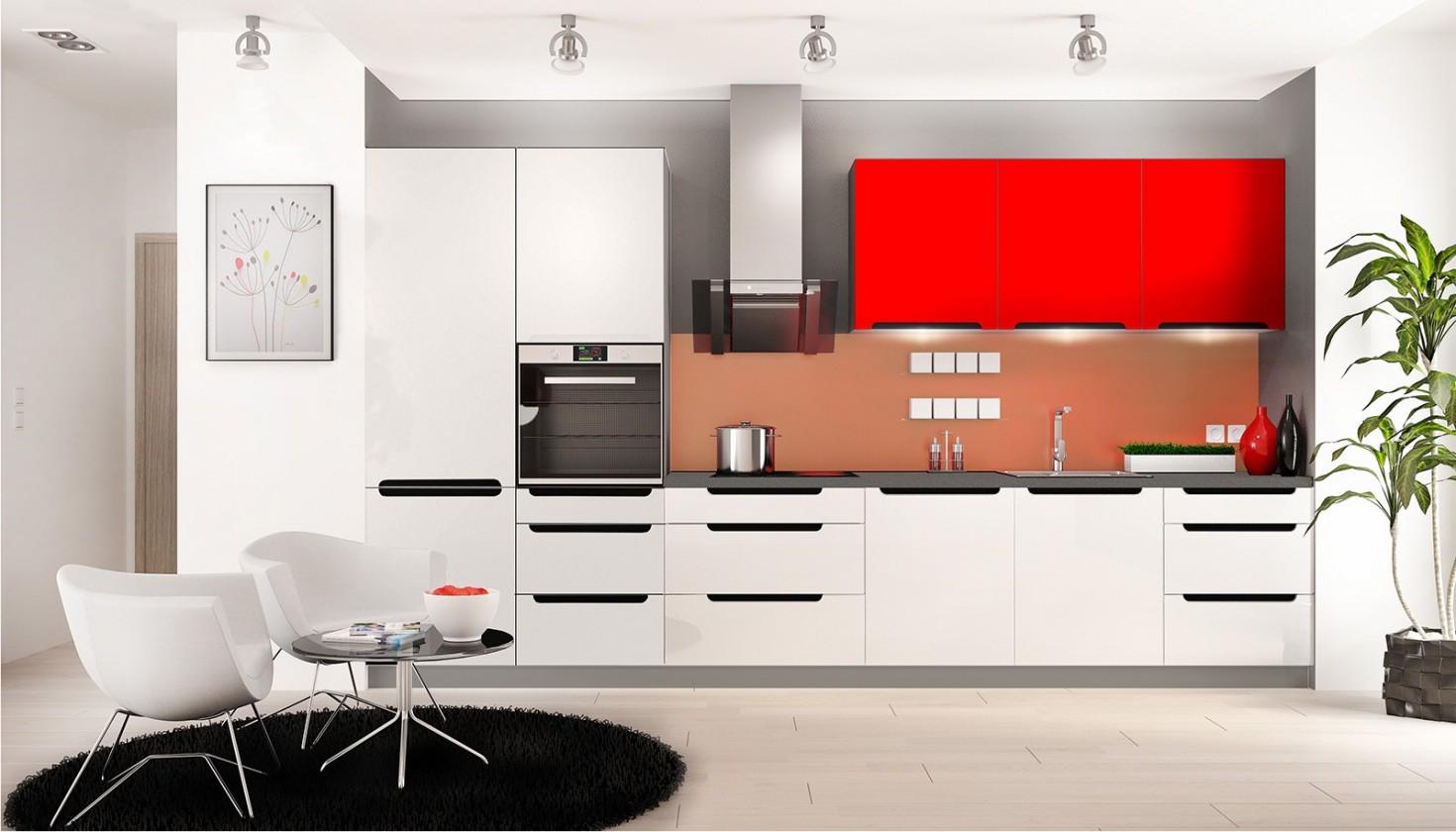 Rovná Goya - Kuchyňský blok (bílá, červená lesk, PD porfido grafit)