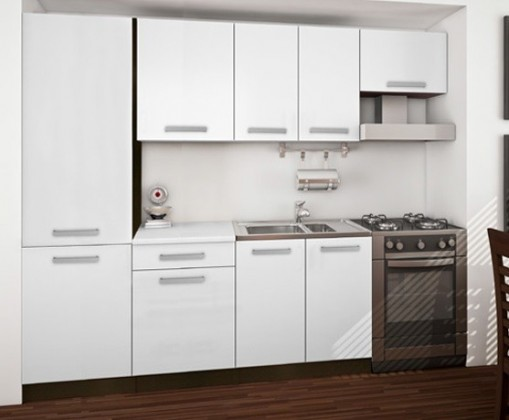 Rovná Island 14 - Kuchyňský blok 260 cm (sosna laredo / bílá)