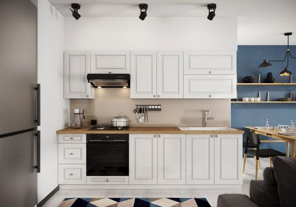 Rovná Kuchyně Amelia 260 cm (bílá mat)