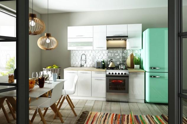 Rovná Kuchyně Aurora - 220 cm (bílá vysoký lesk)