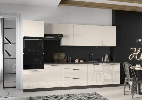 Rovná Kuchyně Betty 320 cm (jasmín, lesk)