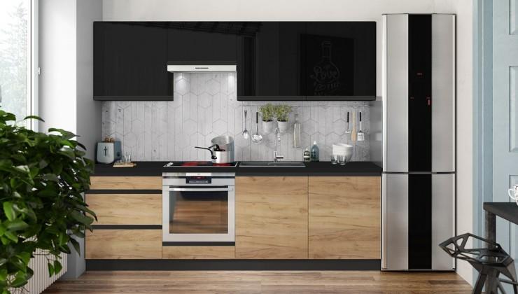 Rovná Kuchyně Brick 240 cm (černá vysoký lesk/dub)