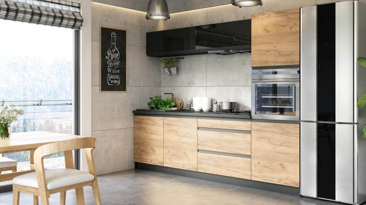 Rovná Kuchyně Brick - 260 cm (černá vysoký lesk/craft)