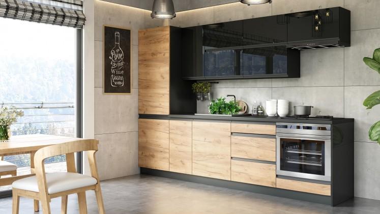 Rovná kuchyně brick - 280 cm (černá vysoký lesk/craft)