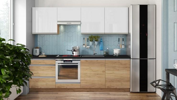 Rovná Kuchyně Brick light 240 cm (bílá vysoký lesk/dub)