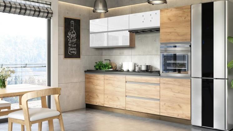 Rovná Kuchyně Brick light 260 cm (bílá lesk/craft)