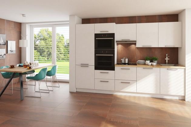 Rovná Kuchyně Carlotta 300 cm (bílá lesk/dub wotan)