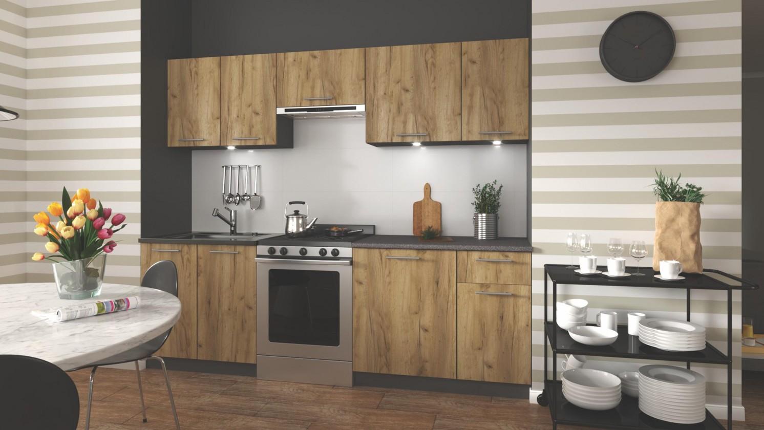Rovná Kuchyně Daria - 240 cm (dub wotan/šedá)