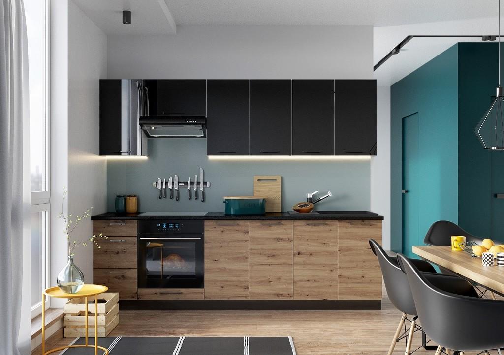 Rovná Kuchyně Dixie 260 cm (černá/dub)