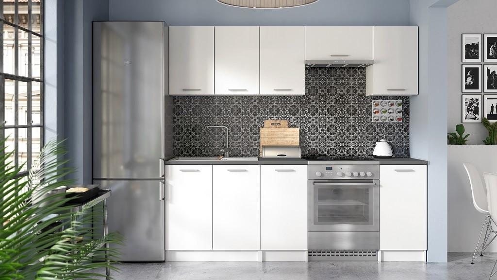 Rovná Kuchyně Eco - 220 cm (bílá)