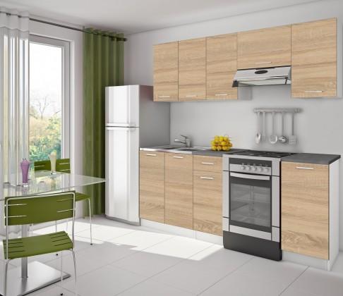 Rovná Kuchyně Eco - 220 cm (dub sonoma/bílá)