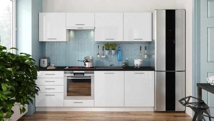Rovná Kuchyně Emilia 240 cm (bílá vysoký lesk/černá)