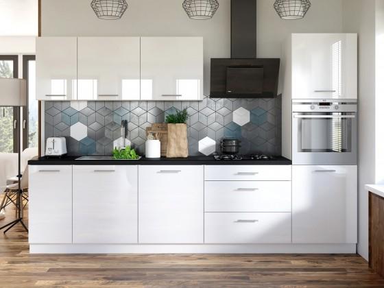 Rovná Kuchyně Emilia - 300 cm (bílá vysoký lesk/černá)