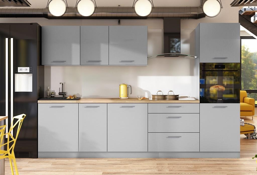 Rovná Kuchyně Emilia mat 300 cm (šedá mat)