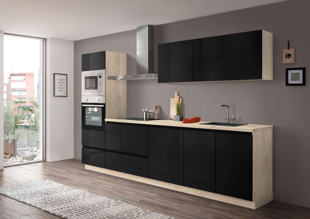 Rovná Kuchyně Eugenie 300 cm (černá, vysoký lesk, lak)