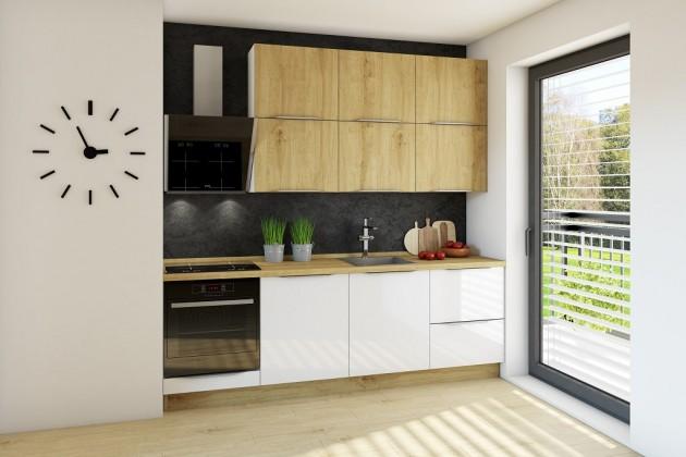 Rovná kuchyně giulia 240 cm (bílá lesk/dub arlington)