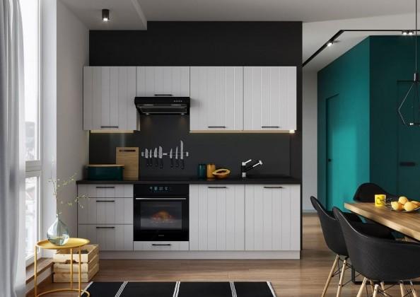 Rovná Kuchyně Grace 240 cm (bílá mat)