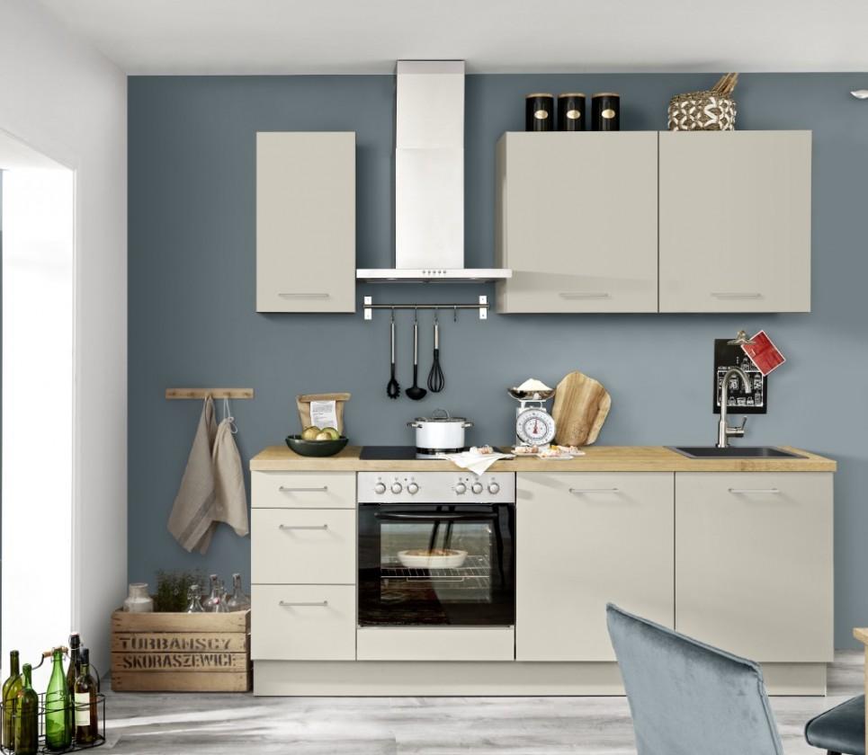 Rovná Kuchyně Inge 220 cm (šedá, dub)