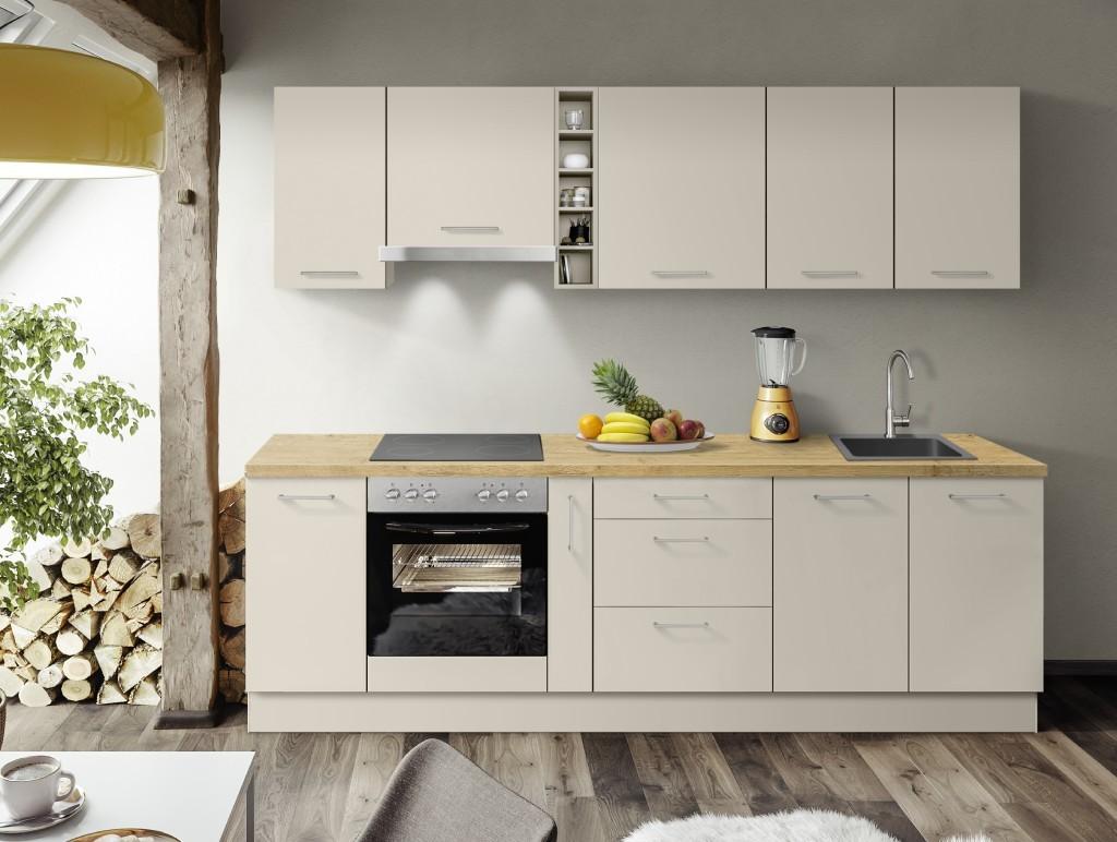 Rovná Kuchyně Inge 270 cm (šedá, dub)