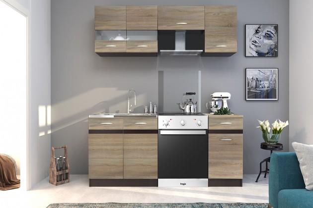 Rovná Kuchyně Larisa - 180 cm (dub sonoma světlý/tmavý)