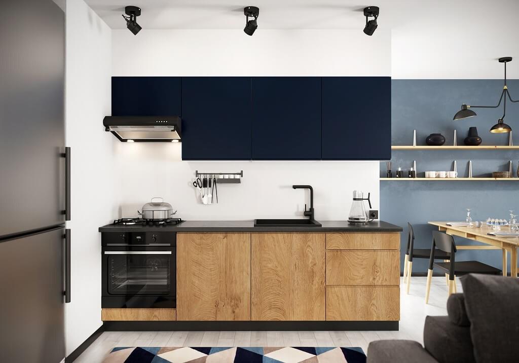 Rovná Kuchyně Leya 240 cm (modrá mat/dřevo)