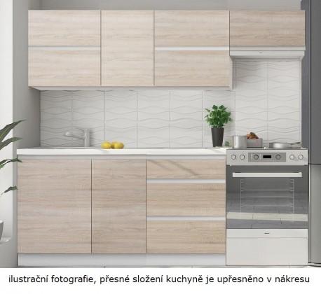 Rovná kuchyně line - 180 cm (dub sonoma/bílá)