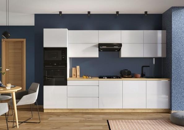 Rovná Kuchyně Lisse 320 cm (bílá lesk)