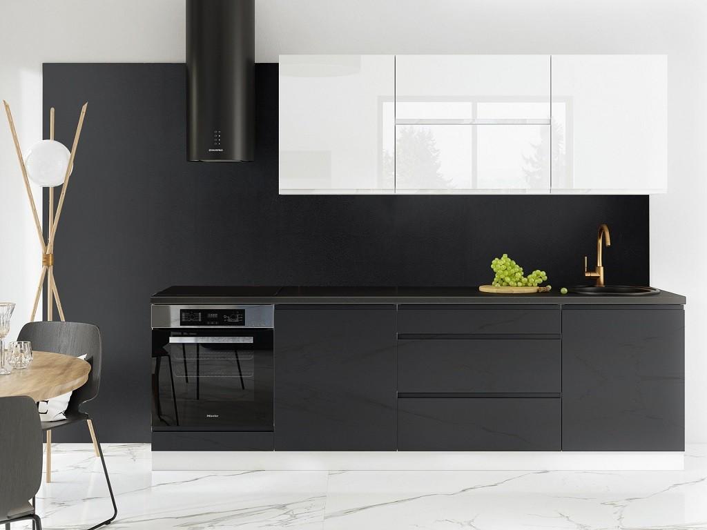 Rovná Kuchyně Marsala - 260 cm (bílá vysoký lesk/šedá vysoký lesk)