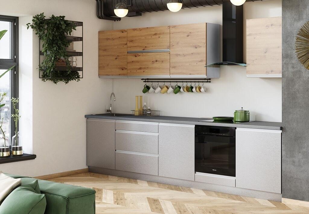 Rovná Kuchyně Metalica 320 cm (stříbrná, dub)
