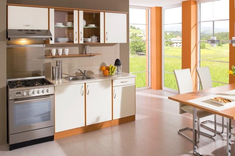 Rovná Kuchyně Milly - 210 cm (vanilka/olše)
