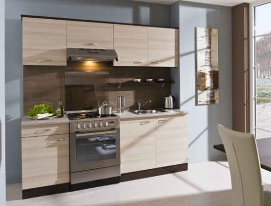 Rovná Kuchyně Nina - 210 cm (jasan coimbra/dub tmavý)