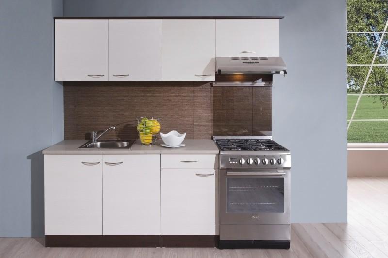 Rovná Kuchyně Nina - 210 cm (woodline creme/dub tmavý)