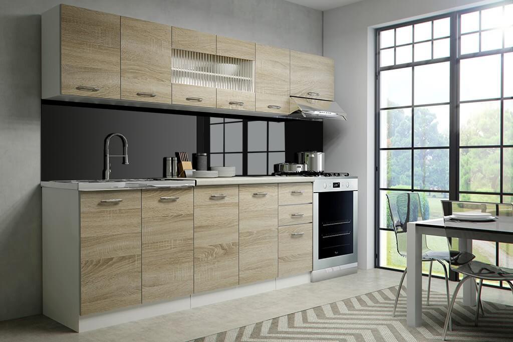Rovná Kuchyně Perla - 260 cm (dub sonoma/bílá)
