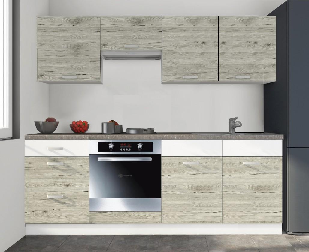 Rovná Kuchyně Santis - 240 cm (figaro/bílá/travertin tmavý)