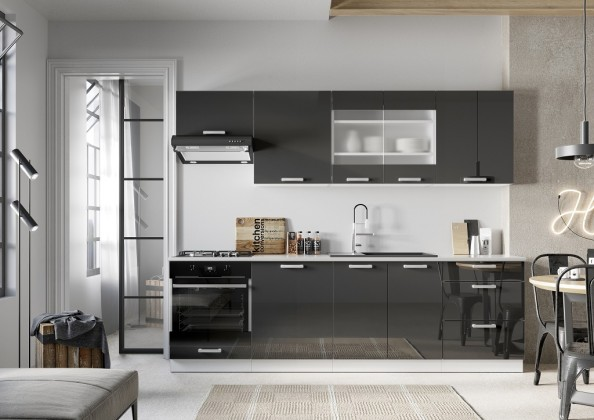 Rovná Kuchyně Vicky 260 cm (šedá lesk)